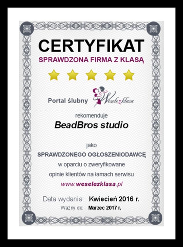 Certyfikat Portalu Wesele z Klasą